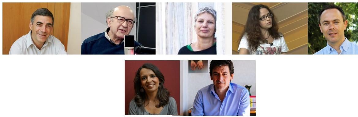 Em cima: João Ferrão, António Cardoso Ferreira, Manuela Calheiros, Maria José Casa-Nova e Nélson Dias; em baixo: Ana Drago e João Afonso